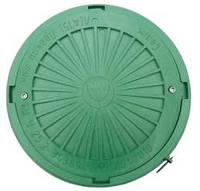 Люк канализационный круглый усиленный с замком  пластиковый зеленый