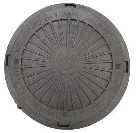 Люк канализационный круглый усиленный пластиковый черный