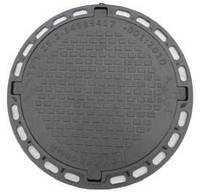 Люк канализационный садовый круглый пластиковый черный