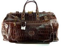 Кожаная дорожная сумка, саквояж Desisan большая темно- коричневая