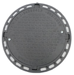 Люк канализационный садовый круглый с замком пластиковый черный
