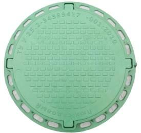 Люк канализационный садовый круглый  пластиковый зеленый