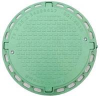 Люк канализационный садовый круглый с замком  пластиковый зеленый