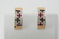 Нарядные серьги из серебра 925 с золотыми вставками