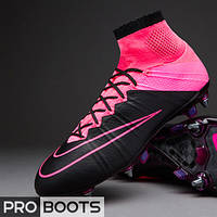 Футбольные бутсы Nike Mercurial Superfly Leather SG Pro Black/Black-Hyper Pink-Hyper Pink