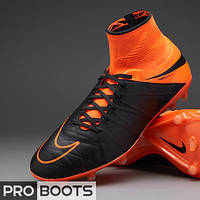 Футбольные бутсы Nike Hypervenom Phantom II Leather FG Black/Black-Total Orange-Total Orange