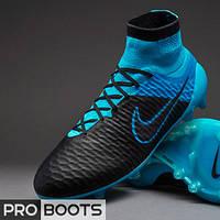Футбольные бутсы Nike Magista Obra Leather FG Black/Black-Turquoise Blue-Blue Lagoon