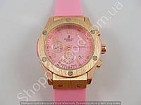 Женские часы Hublot Geneve Big Bang King 882888 золотистые с розовым циферблатом и календарем 013727