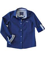 Стильная хлопоковая рубашка для девочки, хлопоковая, темносиняя в белый горошек, BOGI (Божи), 98-104  Украина