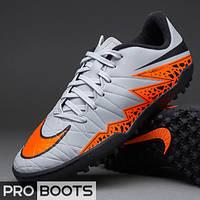 Детские сороконожки Nike Hypervenom Phelon II TF Junior Grey/Total Orange/Black