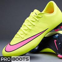 Детские футбольные бутсы Nike Mercurial Vapor X FG Junior Lemon