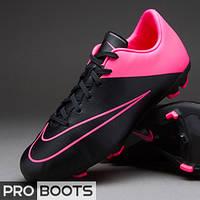 Детские футбольные бутсы Nike Mercurial Victory V FG Junior Black/Black-Hyper Pink-Hyper Pink