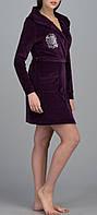 Женский велюровый халат с капюшоном короткий фиолетовый
