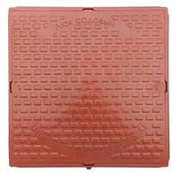 Люк канализационный садовый квадратный пластиковый коричневый (терракотовый)