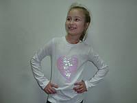 Нарядная футболка с пайетками сердце, фото 1