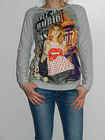 Регланы женские со стильным принтом 2 цвета Shewky Турция  рр. S/M, L/XL
