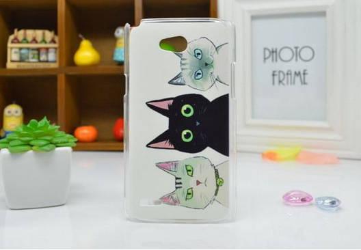 Чехол для LG L80/D380 панель накладка с рисунком три кота, фото 2