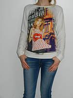 Регланы женские со стильным принтом 2 цвета Shewky Турция  рр. S/M, L/XL белый, S/M