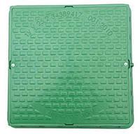Люк канализационный садовый квадратный с замком пластиковый зеленый