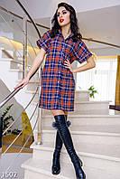 Модное клетчатое женское платье-рубашка на кнопка свободного покроя рукав короткий коттон