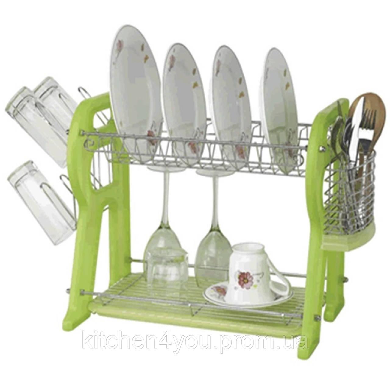 Настільна сушка для посуду LF-881В (565х295х360 мм.) хром / зелений пластик
