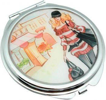 Изящное карманное зеркальце Девушка на прогулке Jardin D'ete HS-24389G