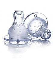 """Nuby Двухкомпонентная силиконовая соска """"Мультипоток"""" 4m+ для бутылочек со стандартным горлом"""