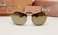 Женские солнцезащитные очки Miu Miu 7879 коричневая зеркальная линза, фото 1