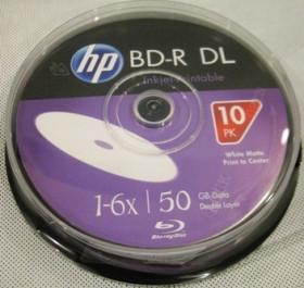 Компьютерный диск HP BD-R 50 GB 6x Printable Cake 10
