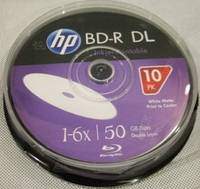 Диски HP BD-R 50 GB 6x Printable Cake 10