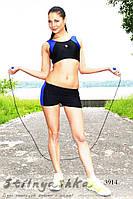 Спортивный костюм для фитнеса топ с шортами индиго, фото 1