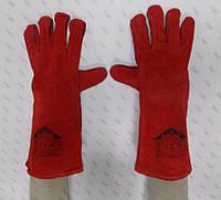 Перчатки спилковые (краги) МИК пятипалые с кожаной вставкой EW 007