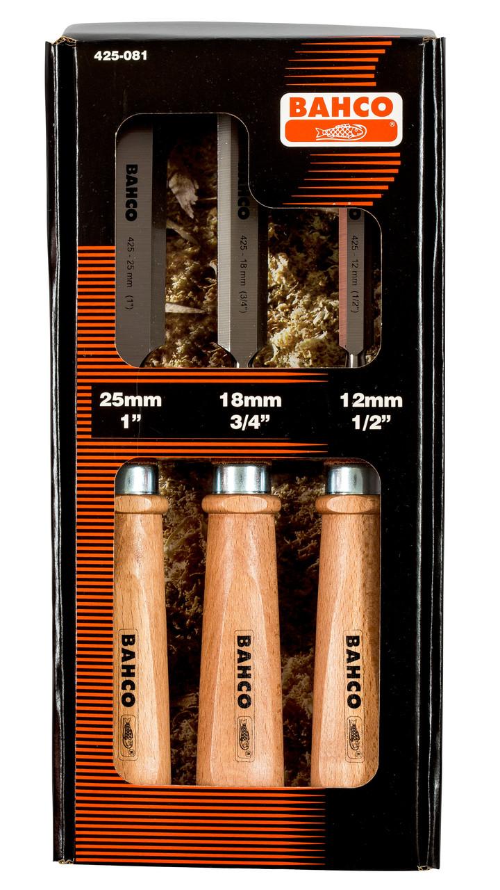 Набір стамесок, 3 шт., дерев'яні рукоятки, Bahco, 425-081