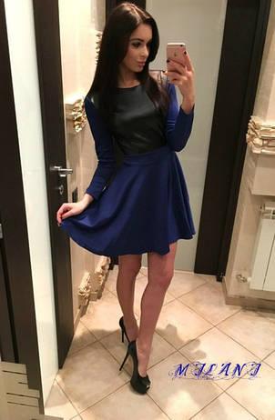 Платье  с вставкой из экокожи , фото 2