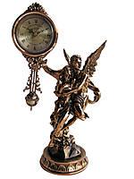 """Часы интерьерные FR-1216g """"Ангел с девушкой"""" Часы с маятником. цвет медь. 33см."""