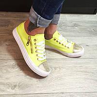Стильные женские желтые кеды