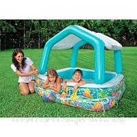 Детский надувной бассейн Intex 57470 с крышей 157x157x122 см, фото 1