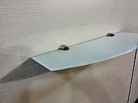Полка стеклянная фигурная 4 мм белая 55 х 15 см