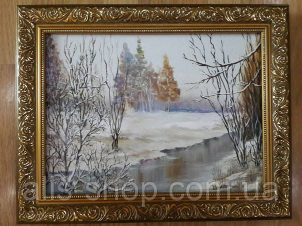 Картина маслом на холсте Зимушка зима 30х40