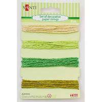 Набор шнуров бумажных декоративных, 4 цвета, 8м/уп., зелено-бежевый 952035