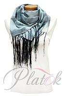 Шифоновый шарф с кистями Фиеста серый 13-5
