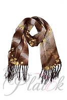 Шифоновый шарф с кистями Фиеста коричневый 1-2