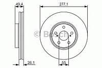 Гальмівний диск pr2 toyota avensis t25 ''f ''01.03 (производство Bosch ), код запчасти: 0986479S09