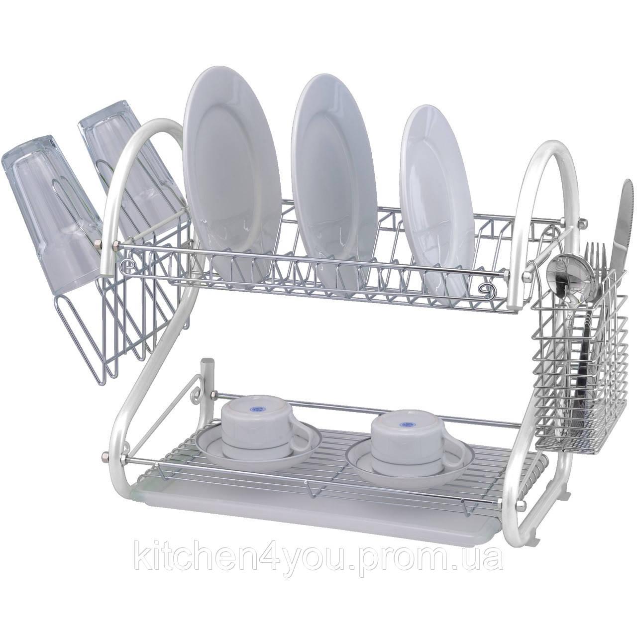 Настольная сушка для посуды LF-766WHT (558х245х395 мм.) хром / белый