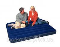 🔥✅ Полуторный надувной велюровый матрас Intex 68758 137х191 см интекс