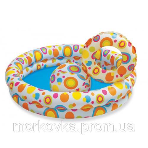 🔥✅ Детский надувной бассейн Intex 59460 Тропические рыбки 122x25 см круг + мяч, надувное дно