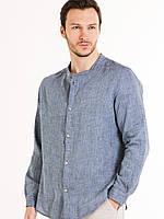 Мужская рубашка джинсовый лен, белый лен, серый лен, фото 1