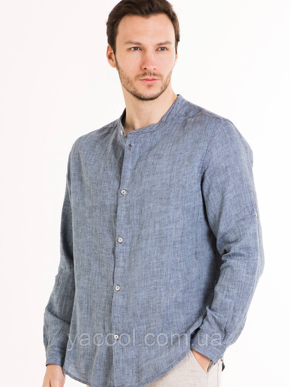 aac4ba45f22 Мужская рубашка джинсовый лен