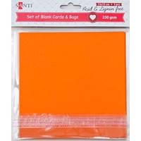 Набор оранжевых заготовок для открыток, 15см*15см, 230г/м2, 5шт. 952284