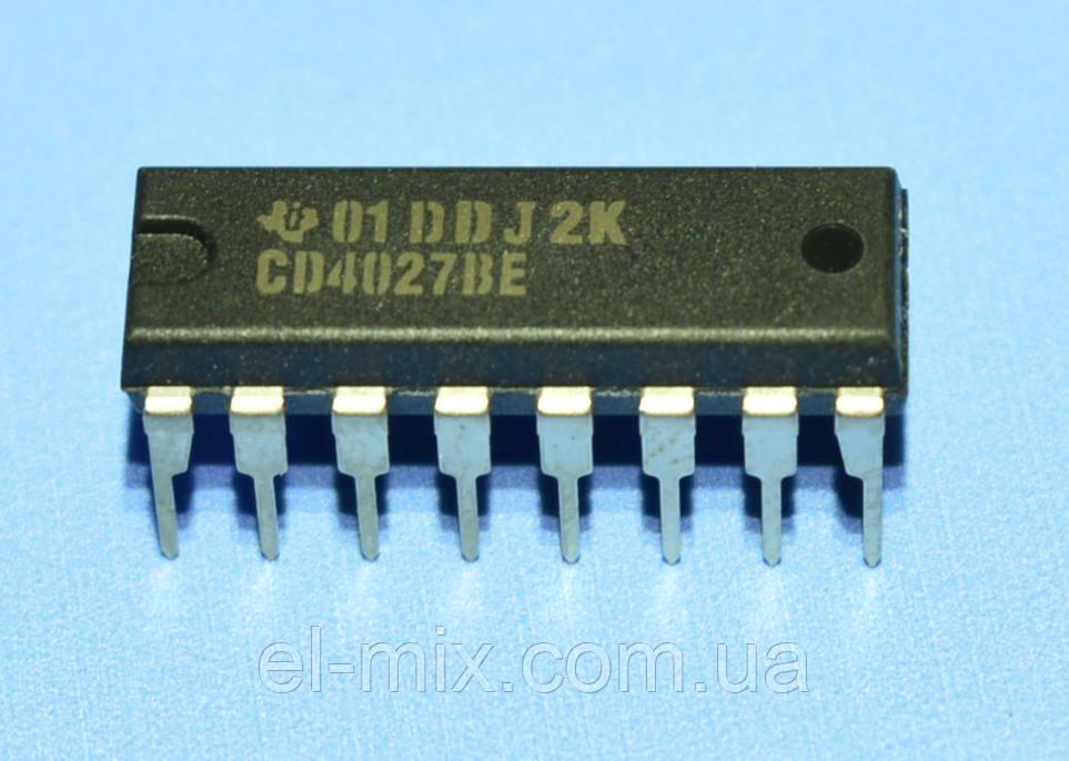 Микросхема 4027 /СD4027BE  dip16  TI